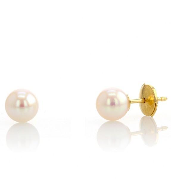 Boucles d'oreilles perles du Japon 6-6,5 mm Or jaune 750/00