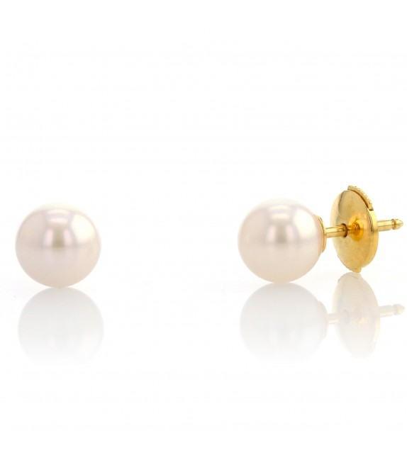 Boucles d'oreilles perles du Japon 6,5-7 mm Or jaune 750/00