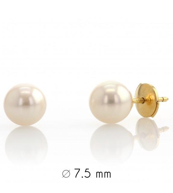 Boucles d'oreilles perles du Japon 7,5-8 mm Or jaune 750/00