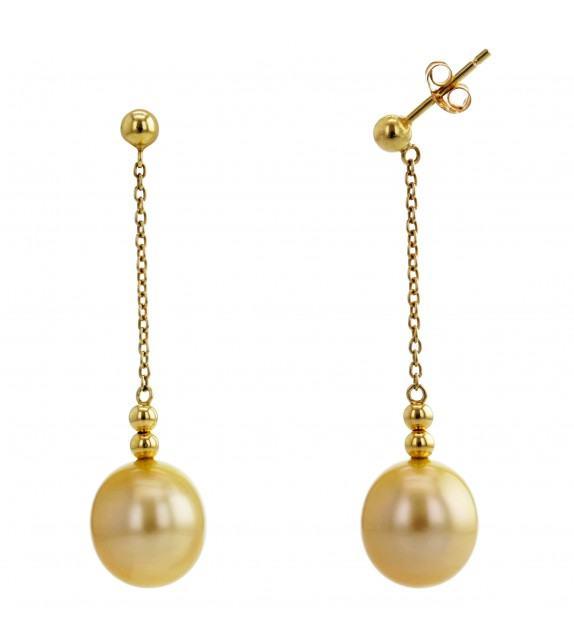 Boucles d'oreilles perles des Mers du Sud 9 mm or jaune 750/00