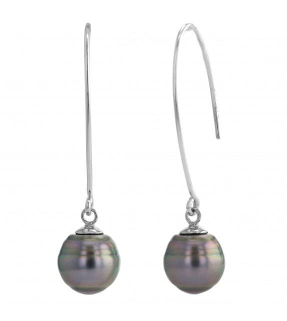Boucles d'oreilles perles de Tahiti 8-9 mm argent 925/00