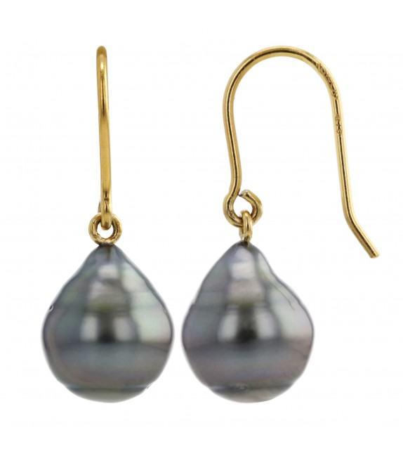 Boucles d'oreilles perles de Tahiti 8-9,5 mm or jaune 375/00