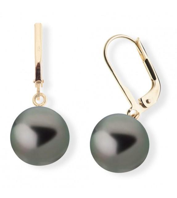 Boucles d'oreilles perles de Tahiti 9,5-10 mm or jaune 375/00