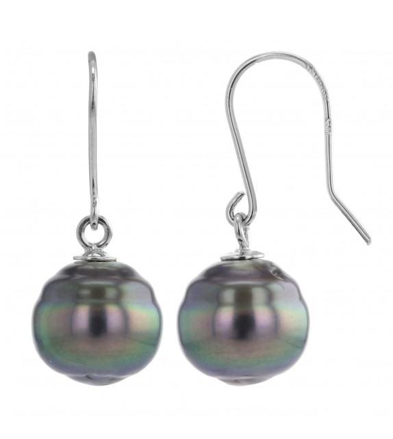 Boucles d'oreilles perles de Tahiti 8-9,5 mm or blanc 750/00