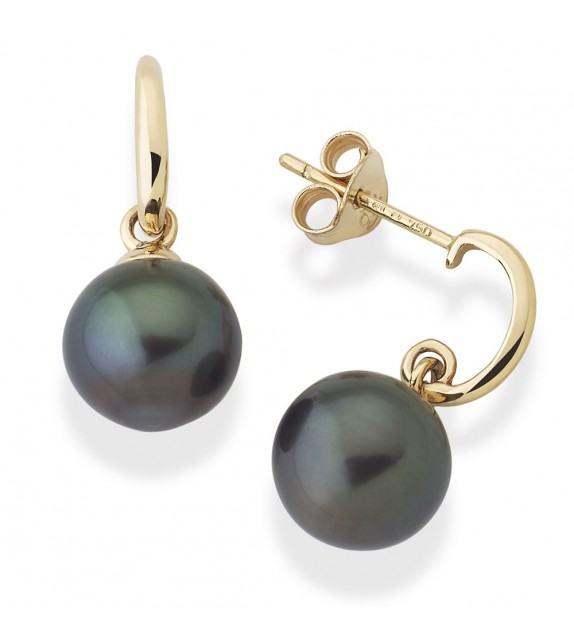 Boucles d'oreilles perles de Tahiti 8 mm or jaune 750/00