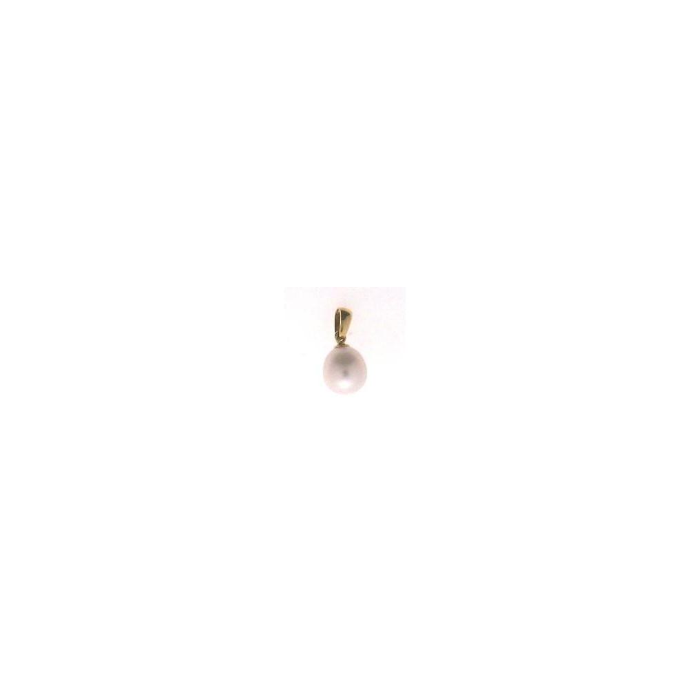 Pendentif perle d'eau douce 8-8,5 mm or jaune 750/00