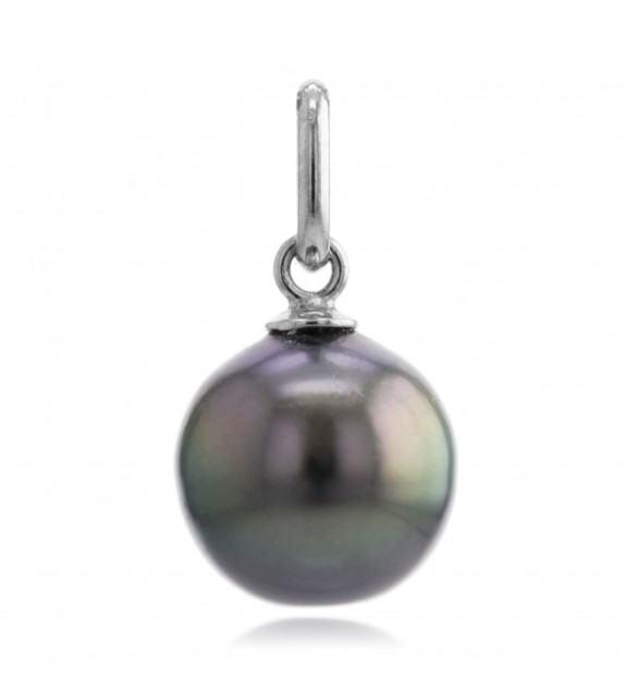Pendentif perle de Tahiti 9 mm or blanc 375/00