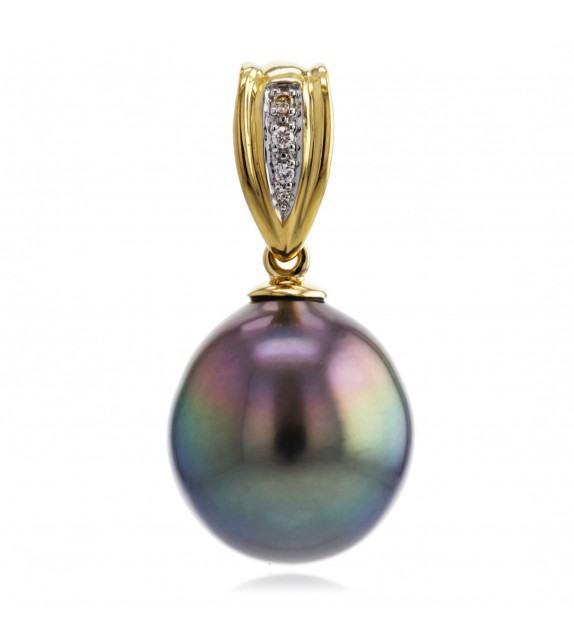 Pendentif perle de Tahiti 9 mm or jaune 750/00