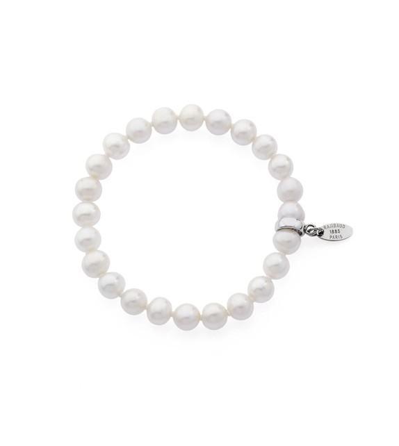 Bracelet élastique perles d'eau douce 8 mm et argent 925/00