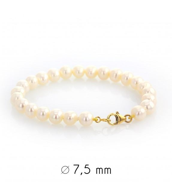 Bracelet perles d'eau douce 7-7,5 mm or jaune 750/00
