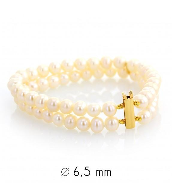 Bracelet perles d'eau douce 6-6,5 mm or jaune 750/00