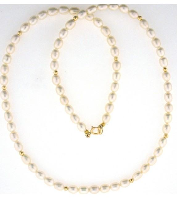 Collier perles d'eau douce 4,5-5 mm or jaune 375/00