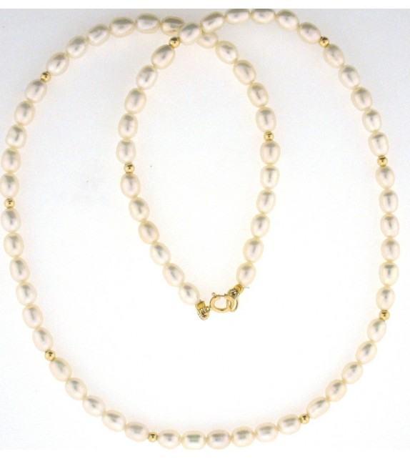 Collier perles d'eau douce 4,5-5 mm or jaune 375/00