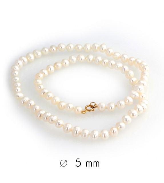 Collier perles d'eau douce 4,5-5 mm or jaune 750/00