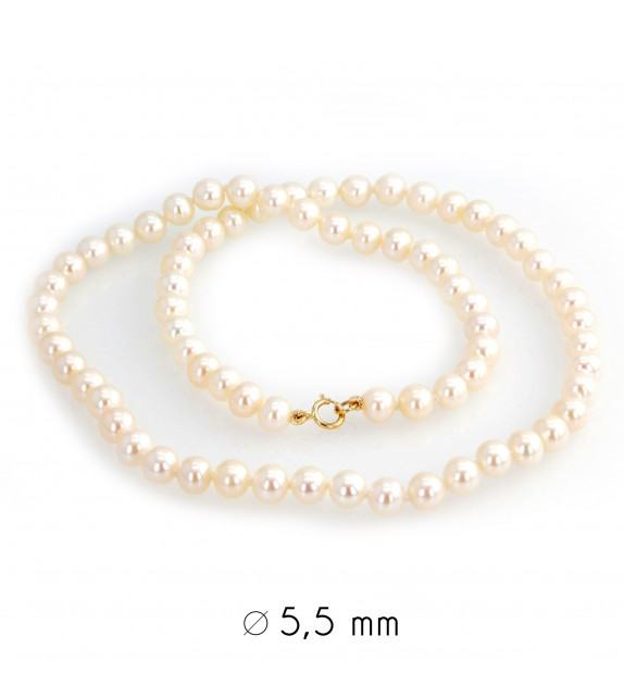 Collier perles d'eau douce 5-5,5 mm or jaune 750/00