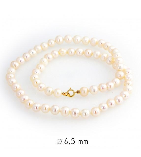 Collier perles d'eau douce 6-6,5 mm or jaune 750/00