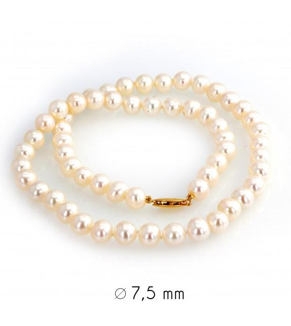 Collier perles d'eau douce 7-7,5 mm or jaune 750/00