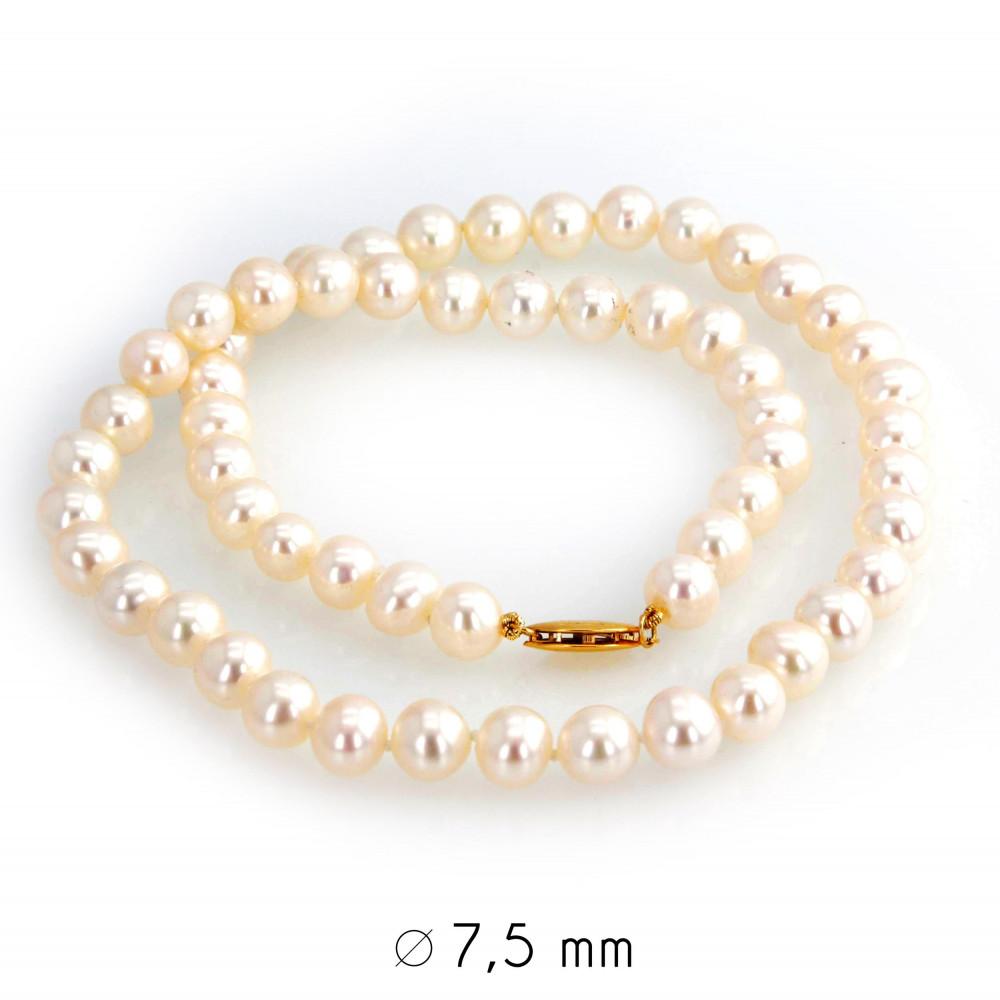 Collier perles d'eau douce 7-7,5 mm or jaune 750/00