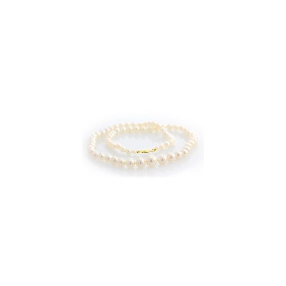 Collier perles d'eau douce de 3,5 à 8 mm or jaune 750/00