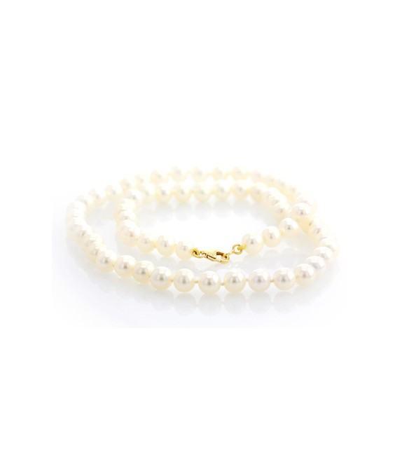Collier perles d'eau douce 6-6,5 mm or jaune 750/00
