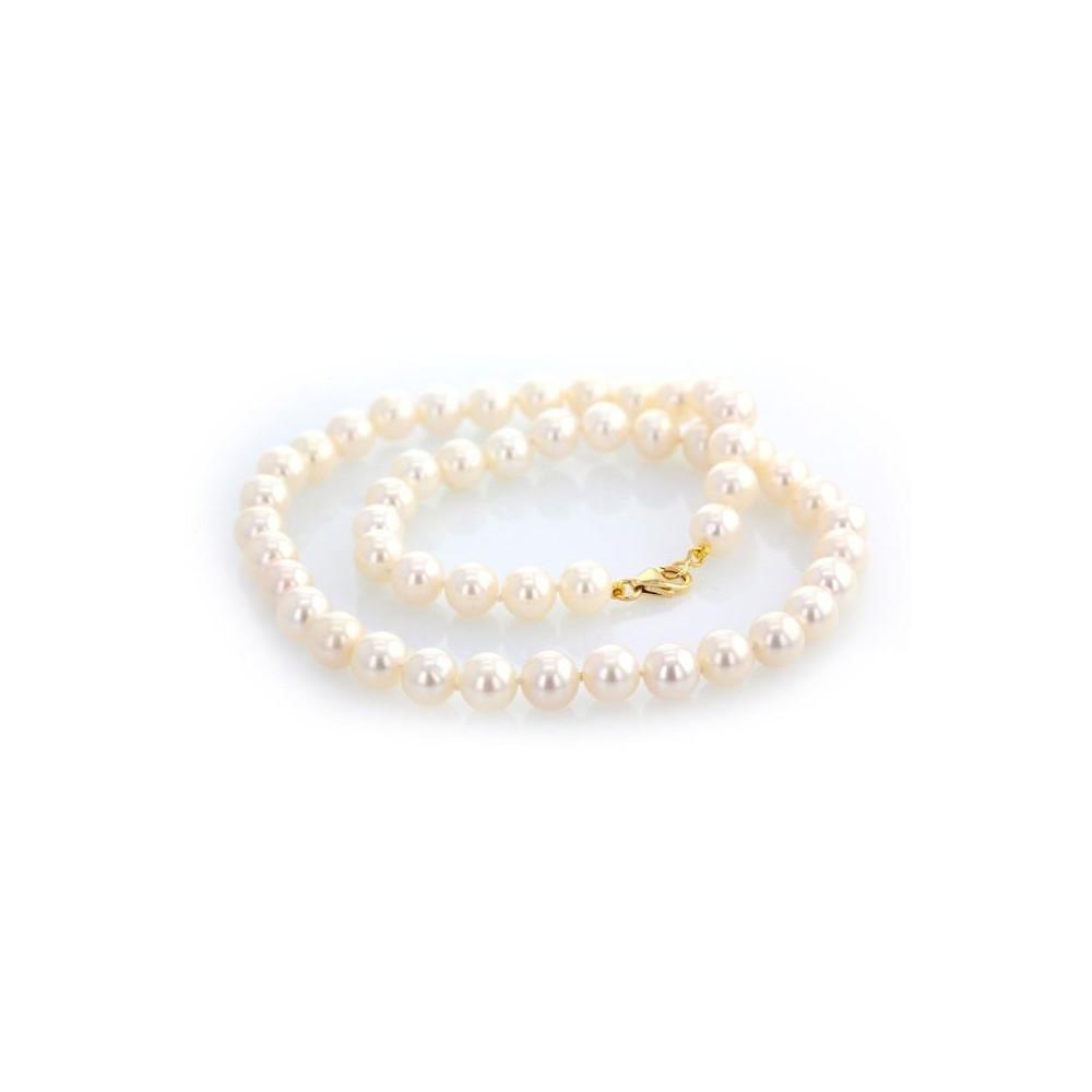 Collier perles d'eau douce 8-8,5 mm or jaune 750/00
