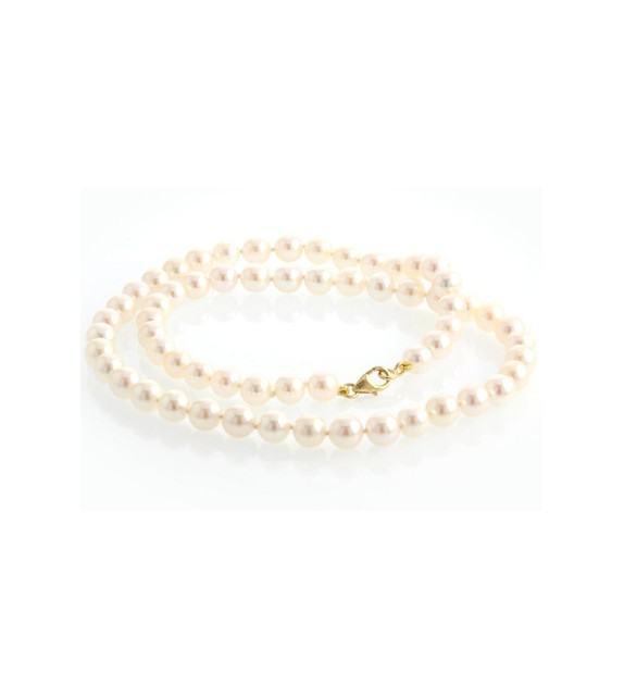 Collier perles Akoya du Japon 6-6,5 mm or jaune 750/00