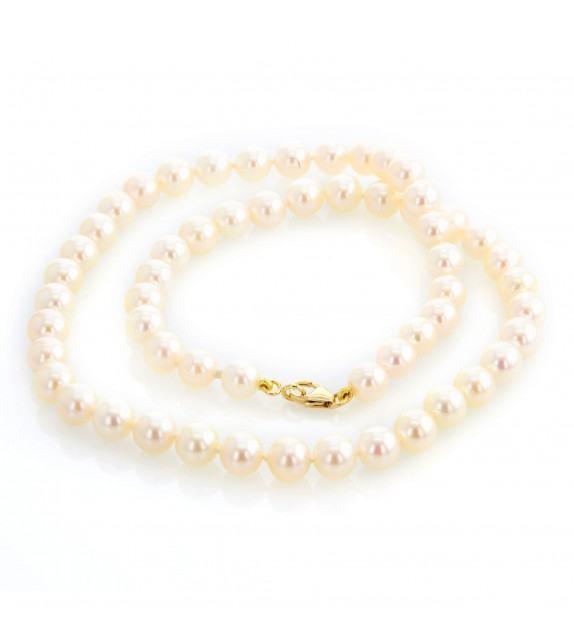 Collier perles Akoya du Japon 6,5-7 mm or jaune 750/00