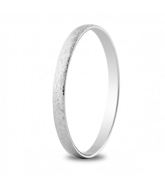 Alliance classique demi-jonc or blanc 18 k 2 mm de large micro rayures et intérieur plat