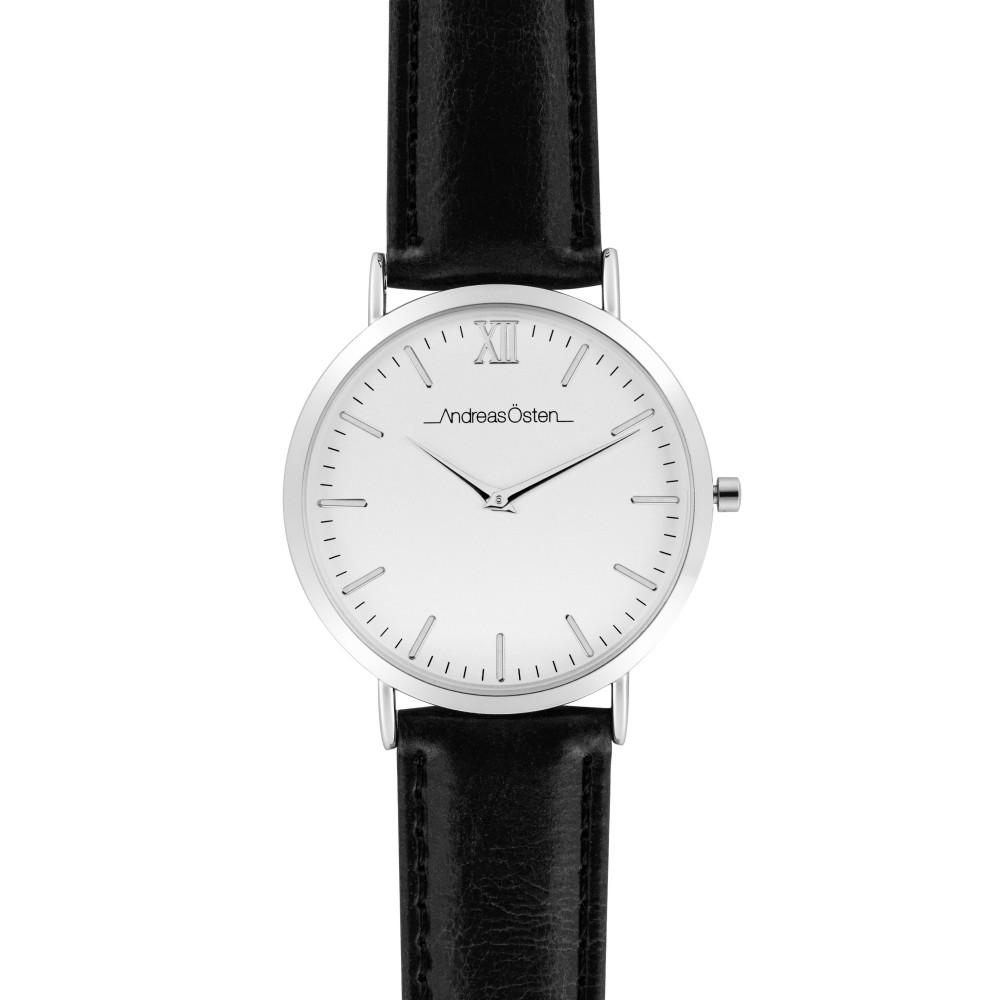 Montre femme Andreas Osten cadran 36 mm en acier blanc avec son bracelet noir en cuir