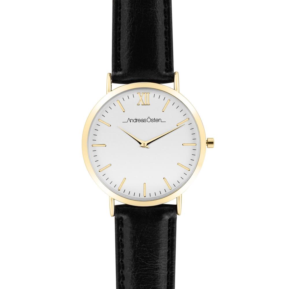 Montre femme Andreas Osten cadran 36 mm en acier blanc et bracelet noir en cuir