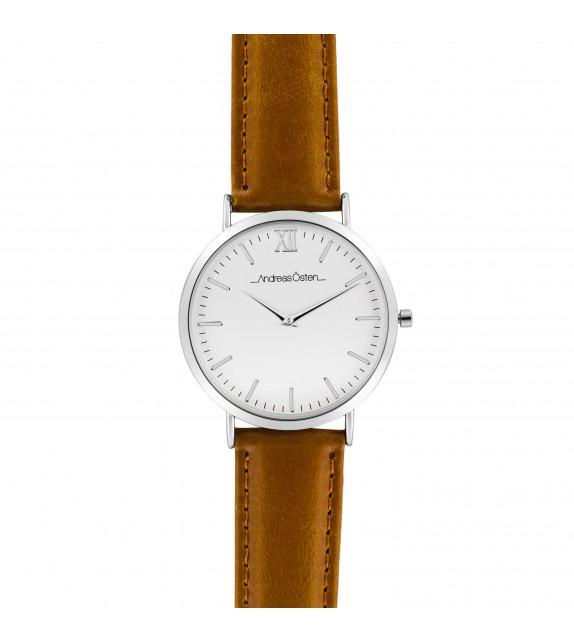 Montre femme Andreas Osten cadran 36 mm en acier blanc et bracelet marron en cuir