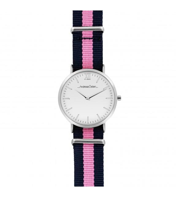 Montre femme Andreas Osten cadran 36 mm en acier blanc et bracelet rose et bleu en nylon