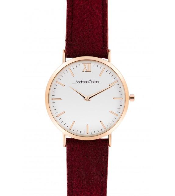 Montre femme Andreas Osten cadran 36 mm en acier blanc et bracelet rouge en cuir