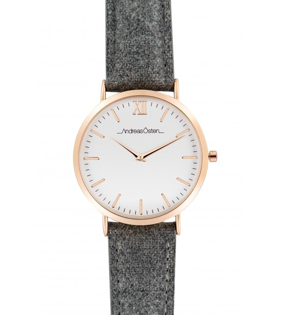Montre femme Andreas Osten cadran 36 mm en acier blanc et bracelet gris en tweed