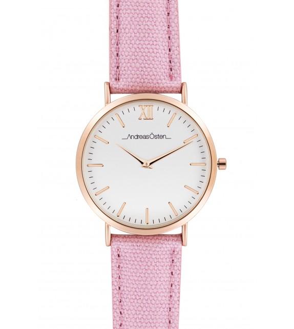 Montre femme Andreas Osten cadran 36 mm en acier blanc et bracelet rose en tweed