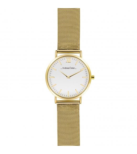 Montre femme Andreas Osten cadran 36 mm en acier blanc et bracelet doré en maille