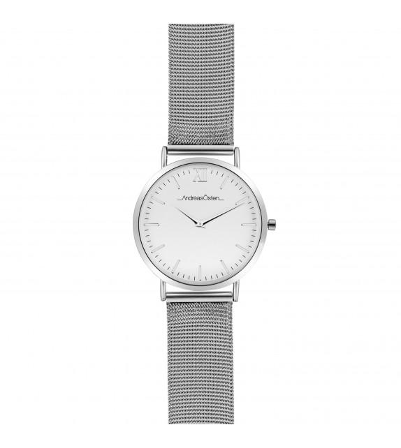 Montre femme Andreas Osten cadran 36 mm en acier blanc et bracelet argenté en maille