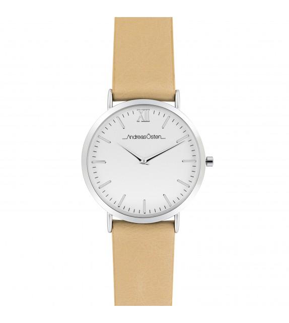 Montre femme Andreas Osten cadran 36 mm en acier blanc et bracelet beige en cuir