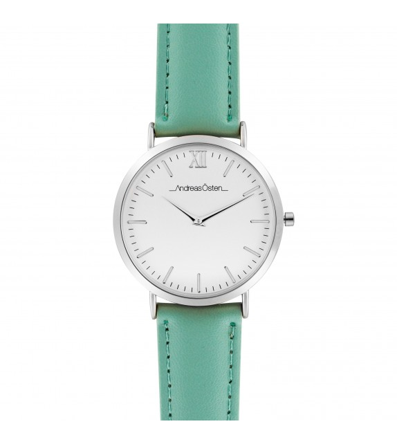 Montre femme Andreas Osten cadran 36 mm en acier blanc et bracelet vert en cuir