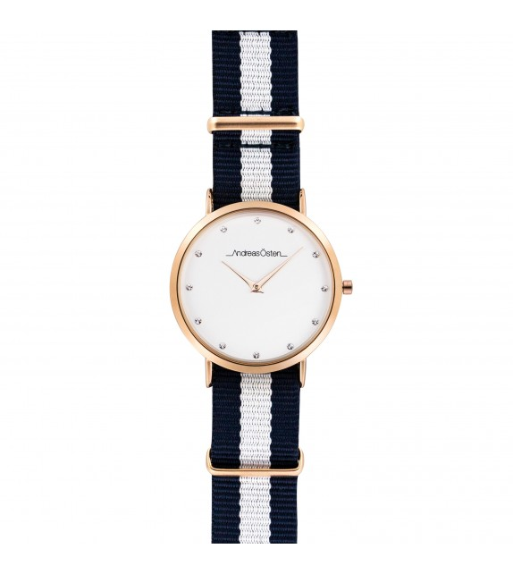 Montre femme Andreas Osten cadran 36 mm en acier blanc et bracelet bleu et blanc en nylon