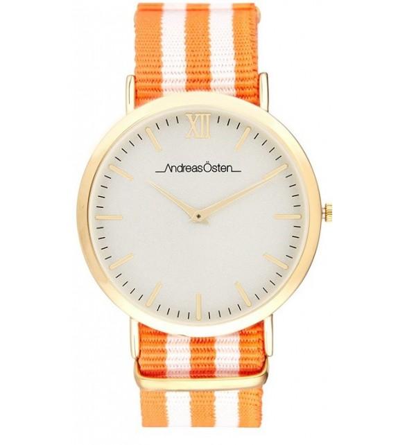 Montre femme Andreas Osten cadran 36 mm en acier blanc et bracelet orange et blanc en nylon