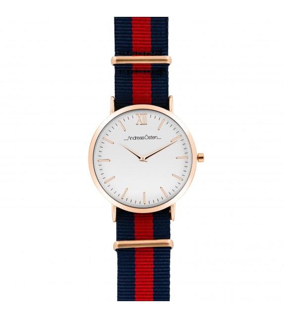 Montre homme Andreas Osten cadran 40 mm en acier blanc et bracelet bleu et rouge en nylon