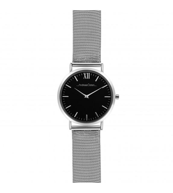 Montre femme Andreas Osten cadran 36 mm en acier noir et bracelet argenté en maille