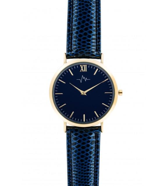 Montre femme Andreas Osten cadran 36 mm en acier bleu marine et bracelet bleu marine en cuir