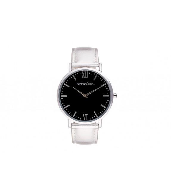 Montre femme Andreas Osten cadran 40 mm en acier noir et bracelet argenté en cuir
