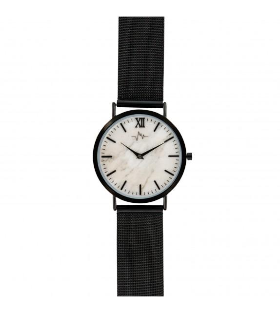Montre femme Andreas Osten cadran 36 mm en acier blanc et bracelet noir en maille