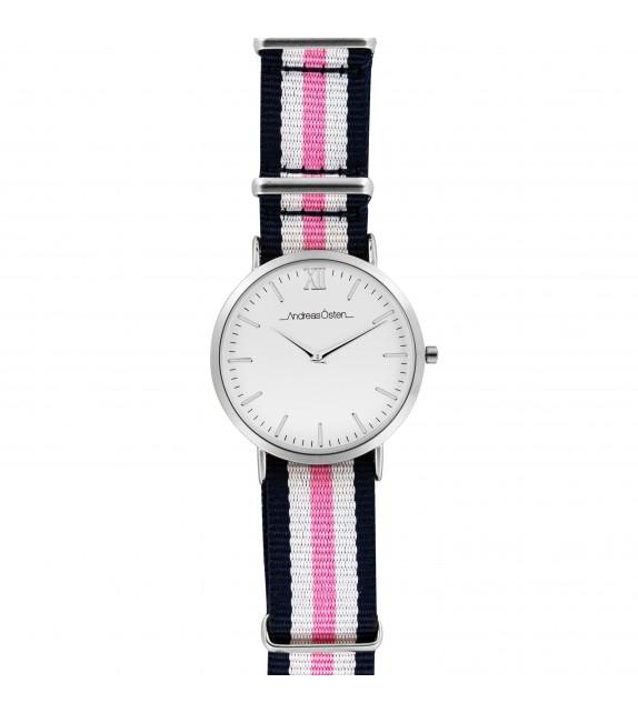 Montre femme Andreas Osten cadran 36 mm en acier blanc et bracelet rose bleu et blanc en nylon