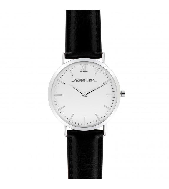 Montre homme Andreas Osten cadran 40 mm en acier blanc et bracelet noir en cuir