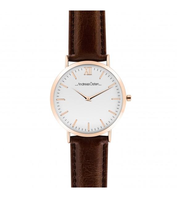 Montre homme Andreas Osten cadran 40 mm en acier blanc et bracelet marron en cuir