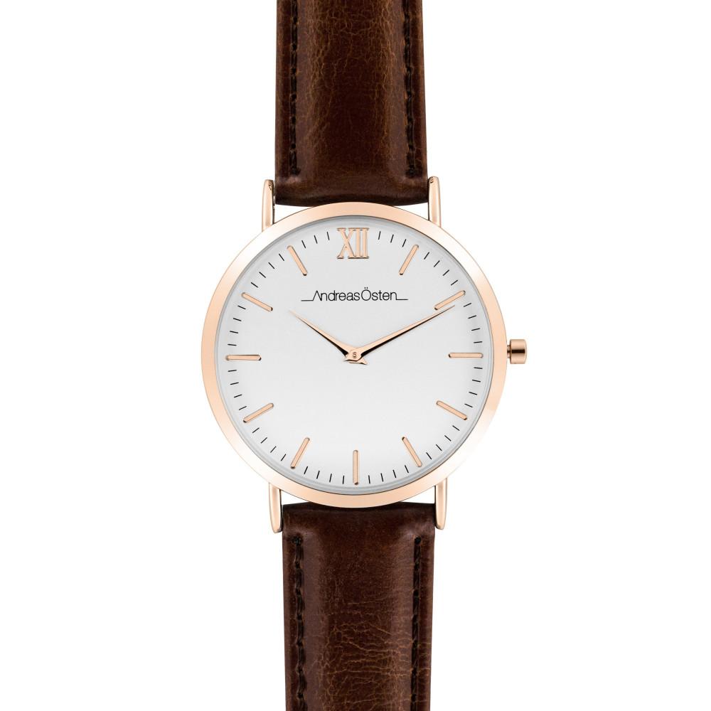 Bijoux Marron Andreas Homme Et Cuir Cadran Tous Osten Bracelet En 40 Mm Blanc Acier Montre Mes cL4j35RAq